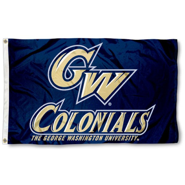 This George Washington University Flag measures 3'x5', is made of 100% nylon, has quad-stitched sewn flyends, and has two-sided George Washington University printed logos. Our George Washington University Flag is officially licensed and all flags for George Washington University are approved by the NCAA and Same Day UPS Express Shipping is available.