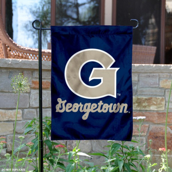 Georgetown Garden Flag is 13x18 inches in size, is made of 2-layer polyester, screen printed Georgetown athletic logos and lettering. Available with Same Day Express Shipping, Our Georgetown Garden Flag is officially licensed and approved by Georgetown and the NCAA.