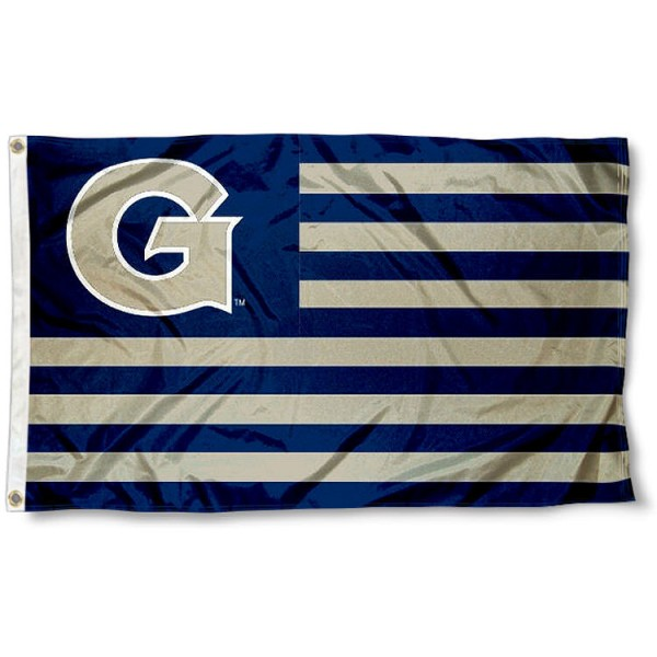 Georgetown GU Hoyas Stripes Flag measures 3'x5', is made of polyester, offers double stitched flyends for durability, has two metal grommets, and is viewable from both sides with a reverse image on the opposite side. Our Georgetown GU Hoyas Stripes Flag is officially licensed by the selected school university and the NCAA.