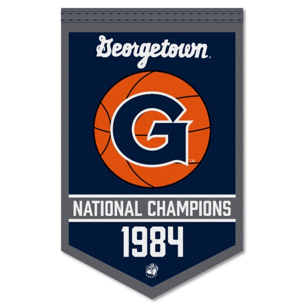 Georgetown Hoyas Basketball National Champions Banner consists of our sports dynasty year banner which measures 15x24 inches, is constructed of rigid felt, is single sided imprinted, and offers a pennant sleeve for insertion of a pennant stick, if desired. This sports banner is a unique collectible and keepsake of the legacy game and is Officially Licensed and University, School, and College Approved.
