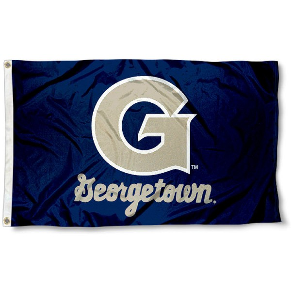 Georgetown Hoyas Flag measures 3'x5', is made of 100% poly, has quadruple stitched sewing, two metal grommets, and has double sided Georgetown Hoyas logos. Our Georgetown Hoyas Flag is officially licensed by the selected university and the NCAA