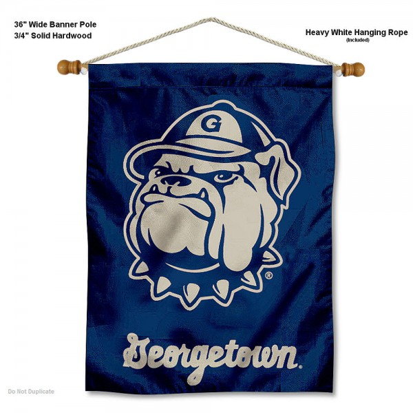 "Georgetown Hoyas Wall Banner is constructed of polyester material, measures a large 30""x40"", offers screen printed athletic logos, and includes a sturdy 3/4"" diameter and 36"" wide banner pole and hanging cord. Our Georgetown Hoyas Wall Banner is Officially Licensed by the selected college and NCAA."