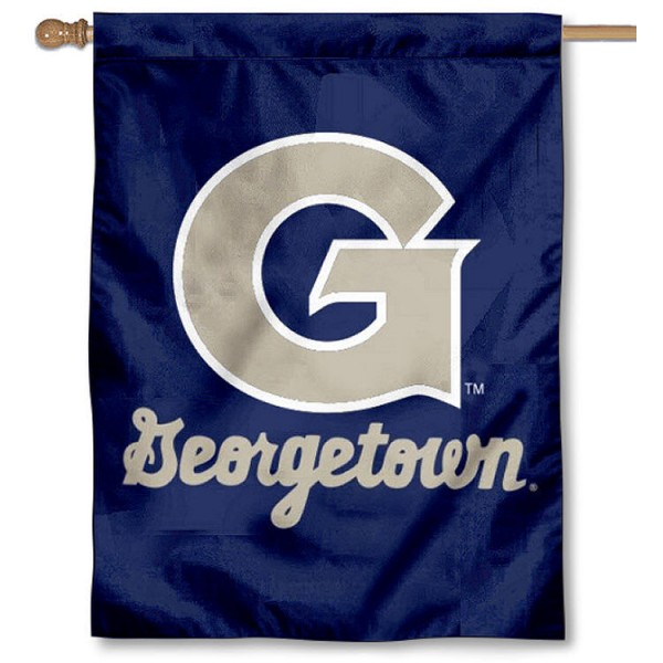 Georgetown Logo House Flag is a vertical house flag which measures 30x40 inches, is made of 2 ply 100% polyester, offers screen printed NCAA team insignias, and has a top pole sleeve to hang vertically. Our Georgetown Logo House Flag is officially licensed by the selected university and the NCAA.