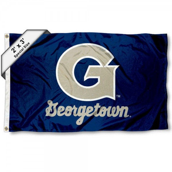 Georgetown Small 2'x3' Flag measures 2x3 feet, is made of 100% polyester, offers quadruple stitched flyends, has two brass grommets, and offers printed Georgetown logos, letters, and insignias. Our 2x3 foot flag is Officially Licensed by the selected university.