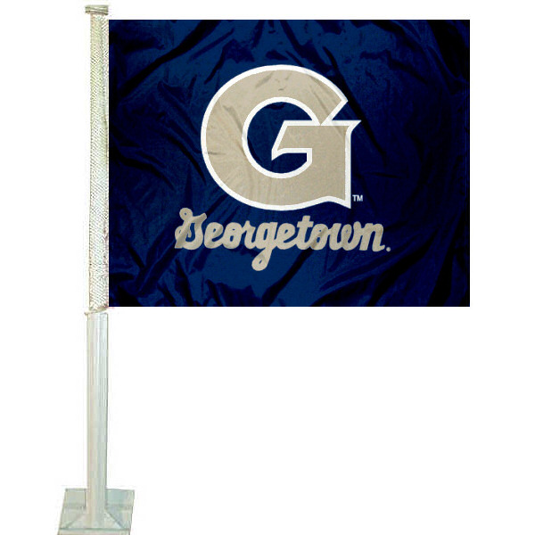 Georgetown University Car Flag measures 12x15 inches, is constructed of sturdy 2 ply polyester, and has dye sublimated school logos which are readable and viewable correctly on both sides. Georgetown University Car Flag is officially licensed by the NCAA and selected university.