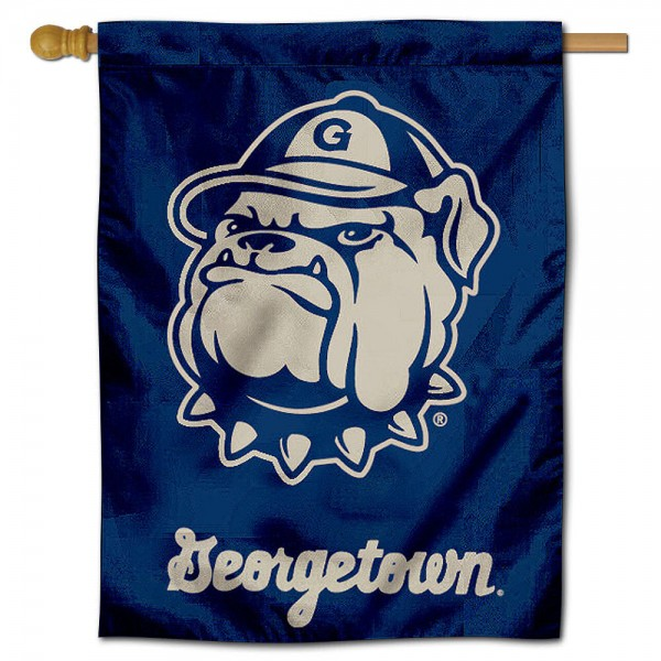 "Georgetown University Decorative Flag is constructed of polyester material, is a vertical house flag, measures 30""x40"", offers screen printed athletic insignias, and has a top pole sleeve to hang vertically. Our Georgetown University Decorative Flag is Officially Licensed by Georgetown University and NCAA."