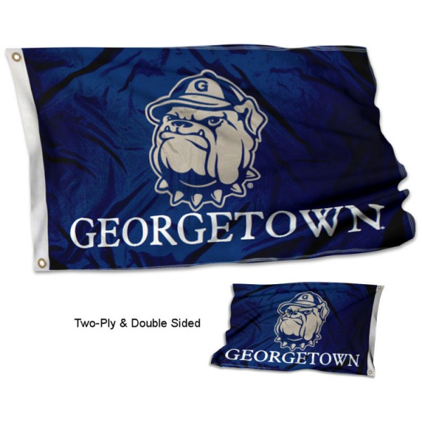 Georgetown University Flag measures 3'x5', is made of 2 layer 100% polyester, has quadruple stitched flyends for durability, and is readable correctly on both sides. Our Georgetown University Flag is officially licensed by the university, school, and the NCAA