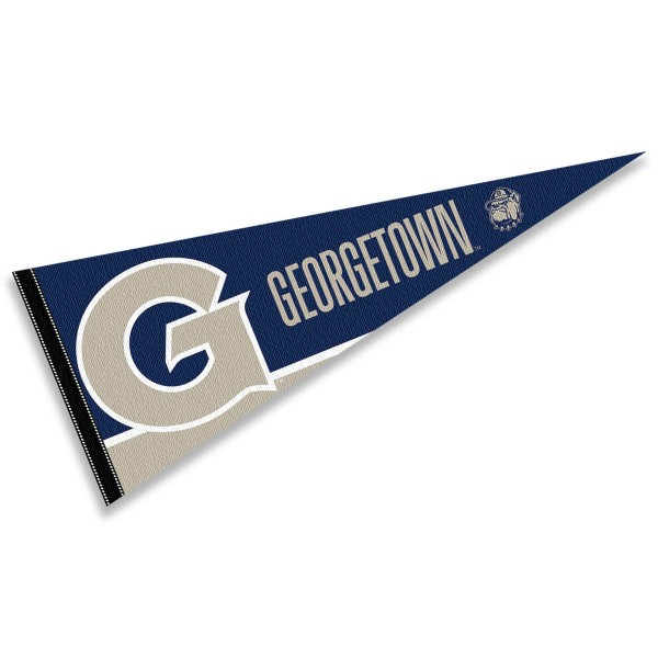 Georgetown University Pennant is 12x30 inches, is made of felt, has a pennant stick sleeve, and the Hoyas logos are single sided screen printed. Our Georgetown University Pennant is licensed by the NCAA and the university.