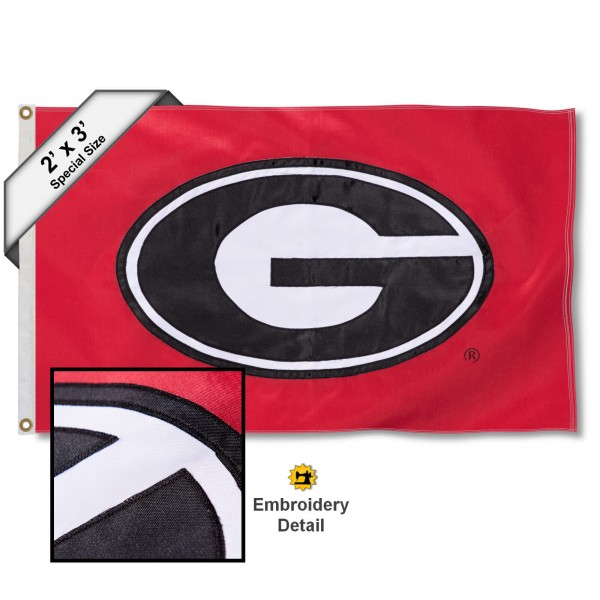 Georgia Bulldog Small 2'x3' Flag measures 2x3 feet, is made of 100% nylon, offers quadruple stitched flyends, has two brass grommets, and offers embroidered Georgia Bulldogs logos and insignias. Our Georgia Bulldog Small 2'x3' Flag is officially licensed by the selected university.