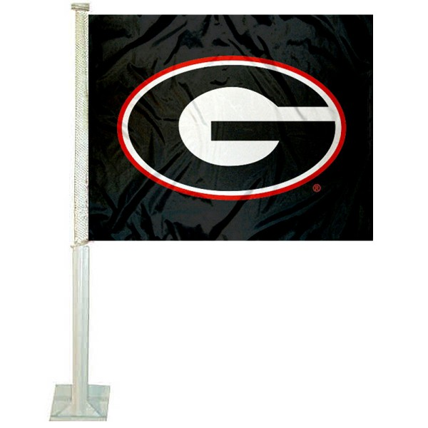 Georgia Bulldogs Black Car Flag measures 12x15 inches, is constructed of sturdy 2 ply polyester, and has screen printed school logos which are readable and viewable correctly on both sides. Georgia Bulldogs Black Car Flag is officially licensed by the NCAA and selected university.