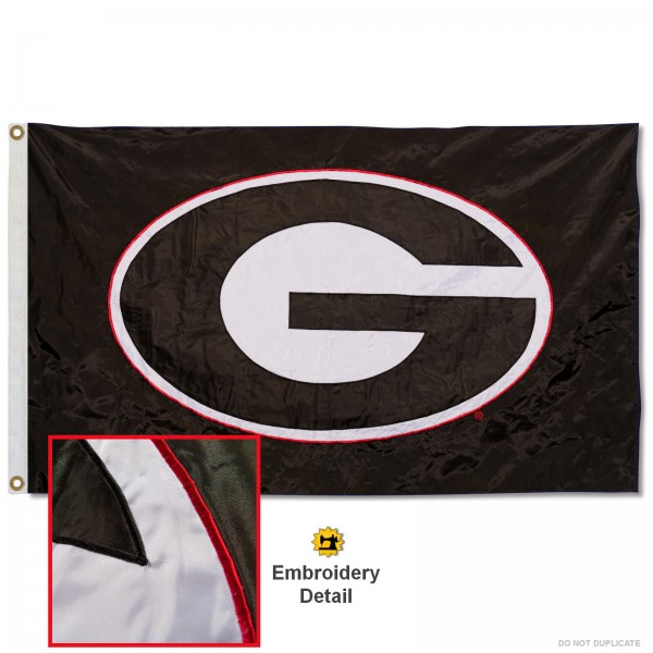Georgia Bulldogs Black Nylon Embroidered Flag measures 3'x5', is made of 100% nylon, has quadruple flyends, two metal grommets, and has double sided appliqued and embroidered University logos. These Georgia Bulldogs 3x5 Flags are officially licensed by the selected university and the NCAA.