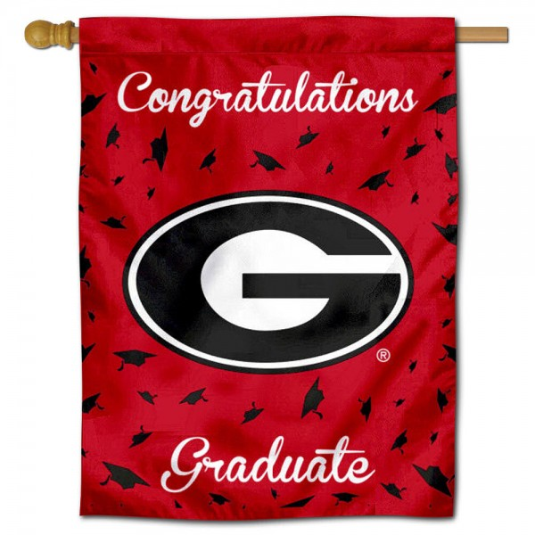 Georgia Bulldogs Congratulations Graduate Flag measures 30x40 inches, is made of poly, has a top hanging sleeve, and offers dye sublimated Georgia Bulldogs logos. This Decorative Georgia Bulldogs Congratulations Graduate House Flag is officially licensed by the NCAA.