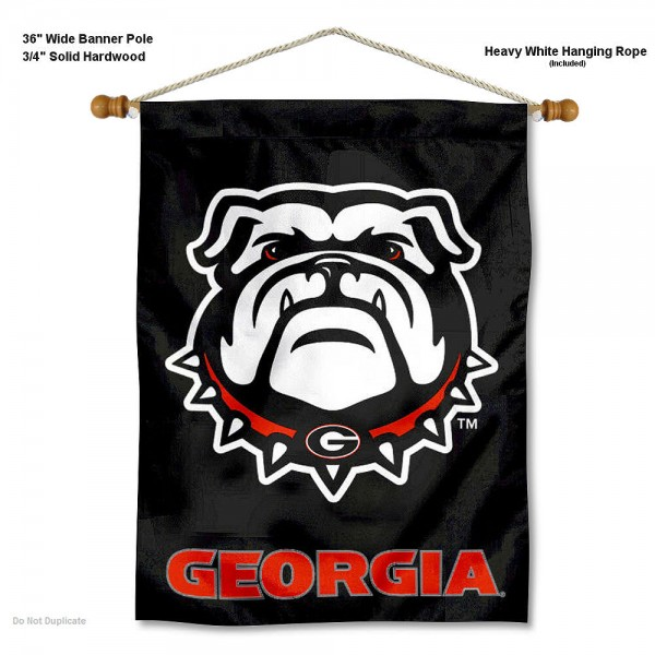 "Georgia Bulldogs Dawg Wall Banner is constructed of polyester material, measures a large 30""x40"", offers screen printed athletic logos, and includes a sturdy 3/4"" diameter and 36"" wide banner pole and hanging cord. Our Georgia Bulldogs Dawg Wall Banner is Officially Licensed by the selected college and NCAA."