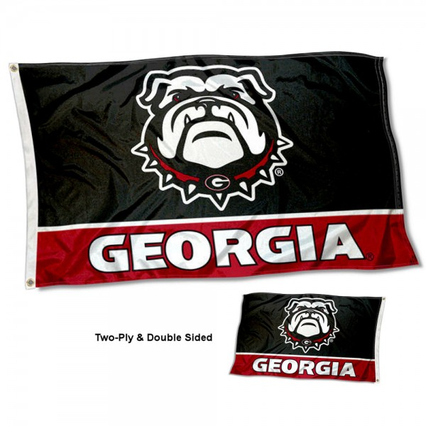 Georgia Bulldogs Double Sided Dawg Flag measures 3'x5', is made of 2 layer 100% polyester, has quadruple stitched flyends for durability, and is readable correctly on both sides. Our Georgia Bulldogs Double Sided Dawg Flag is officially licensed by the university, school, and the NCAA.
