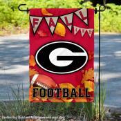 Georgia Bulldogs Fall Football Autumn Leaves Decorative Garden Flag
