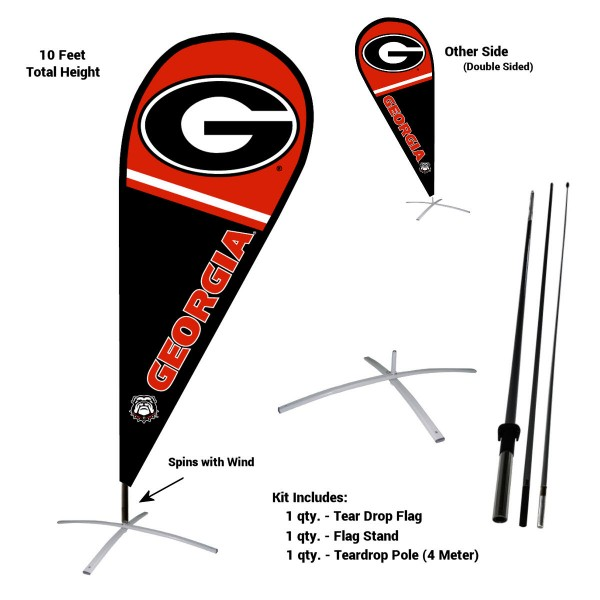 Georgia Bulldogs Feather Flag Kit measures a tall 10' when fully assembled. The kit includes a Feather Flag, 3 Piece Fiberglass Pole, and matching Metal Feather Flag Stand. Our Georgia Bulldogs Feather Flag Kit easily assembles and is NCAA Officially Licensed by the selected school or university.