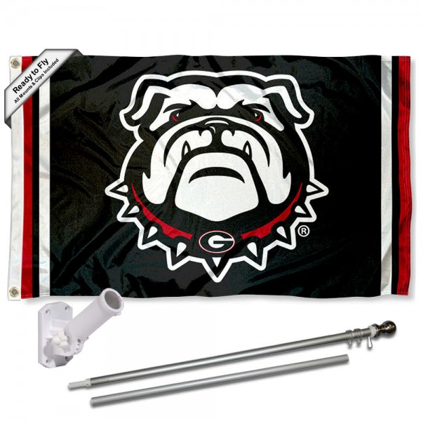 Our Georgia Bulldogs Flag Pole and Bracket Kit includes the flag as shown and the recommended flagpole and flag bracket. The flag is made of polyester, has quad-stitched flyends, and the NCAA Licensed team logos are double sided screen printed. The flagpole and bracket are made of rust proof aluminum and includes all hardware so this kit is ready to install and fly.