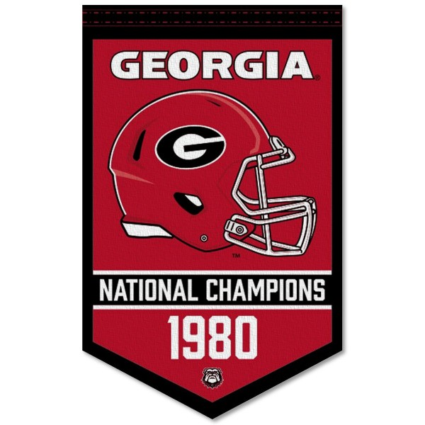 Georgia Bulldogs Football National Champions Banner consists of our sports dynasty year banner which measures 15x24 inches, is constructed of rigid felt, is single sided imprinted, and offers a pennant sleeve for insertion of a pennant stick, if desired. This sports banner is a unique collectible and keepsake of the legacy game and is Officially Licensed and University, School, and College Approved.