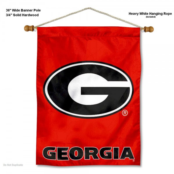 "Georgia Bulldogs G Logo Wall Banner is constructed of polyester material, measures a large 30""x40"", offers screen printed athletic logos, and includes a sturdy 3/4"" diameter and 36"" wide banner pole and hanging cord. Our Georgia Bulldogs G Logo Wall Banner is Officially Licensed by the selected college and NCAA."