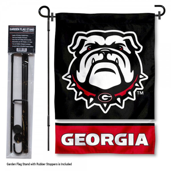 "Georgia Bulldogs Garden Flag and Stand kit includes our 13""x18"" garden banner which is made of 2 ply poly with liner and has screen printed licensed logos. Also, a 40""x17"" inch garden flag stand is included so your Georgia Bulldogs Garden Flag and Stand is ready to be displayed with no tools needed for setup. Fast Overnight Shipping is offered and the flag is Officially Licensed and Approved by the selected team."