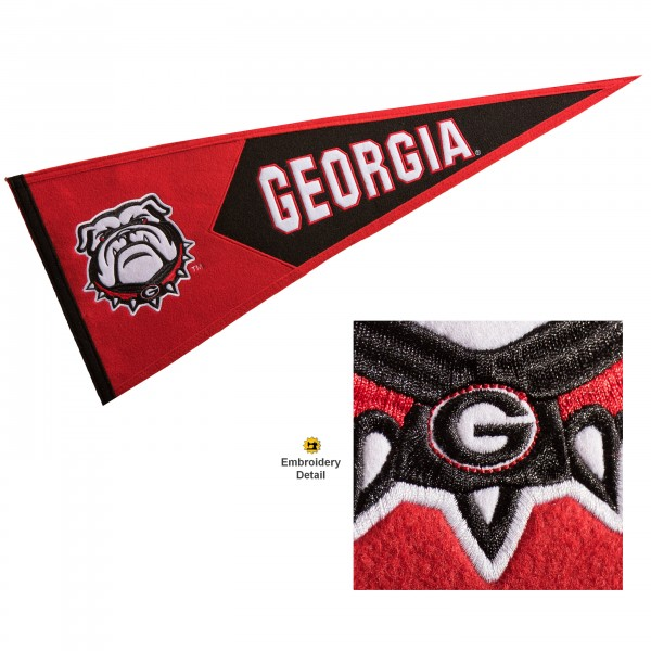 Georgia Bulldogs Genuine Wool Pennant consists of our full size 13x32 inch Winning Streak Sports wool college pennant. The logos, lettering and insignia is quality embroidered and appliqued, feature a alternate logo color header, and has sewn wool perimeter. This Georgia Bulldogs College Pennant Pennant is Officially Licensed and University Approved with Overnight Next Day Shipping.