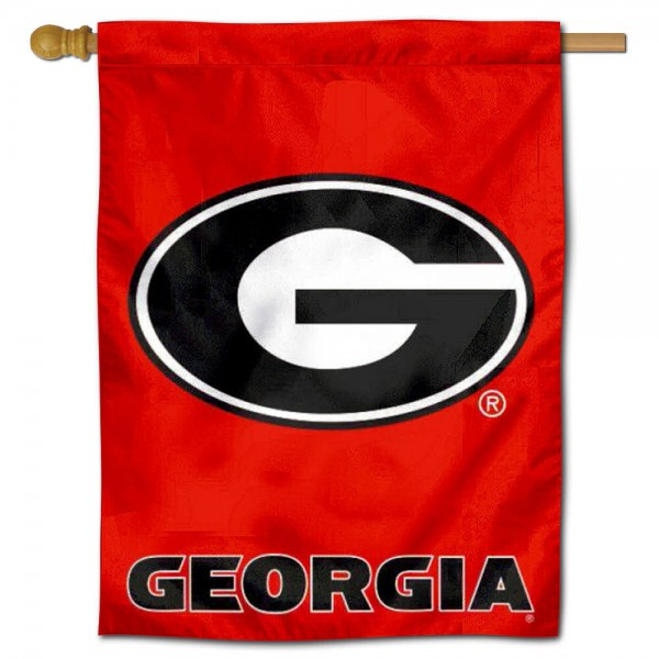 """Georgia Bulldogs House Flag is constructed of polyester material, is a vertical house flag, measures 30""""x40"""", offers screen printed athletic insignias, and has a top pole sleeve to hang vertically. Our Georgia Bulldogs House Flag is Officially Licensed by Georgia Bulldogs and NCAA."""