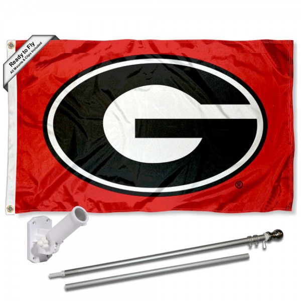 Our Georgia Bulldogs Red Flag Pole and Bracket Kit includes the flag as shown and the recommended flagpole and flag bracket. The flag is made of polyester, has quad-stitched flyends, and the NCAA Licensed team logos are double sided screen printed. The flagpole and bracket are made of rust proof aluminum and includes all hardware so this kit is ready to install and fly.