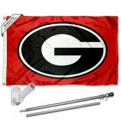 Georgia Bulldogs Red Flag Pole and Bracket Kit