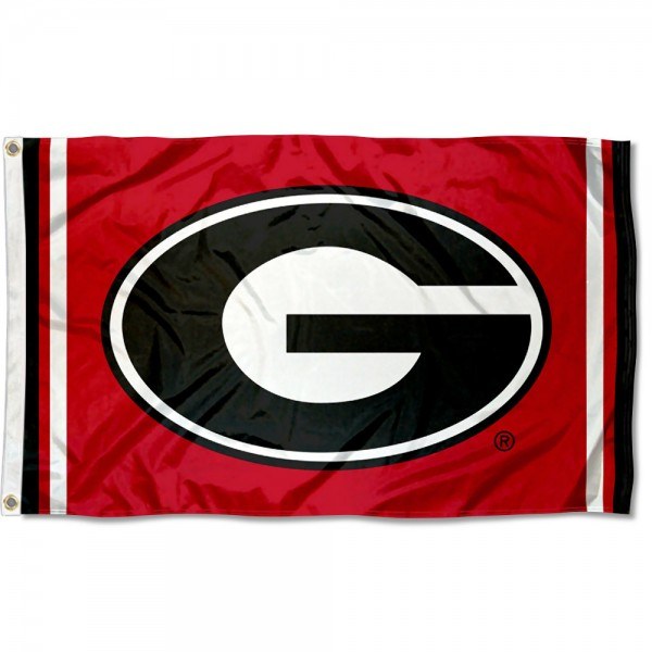 "Georgia Bulldogs Red ""G"" Logo Flag measures 3x5 feet, is made of 100% polyester, offers quadruple stitched flyends, has two metal grommets, and offers screen printed NCAA team logos and insignias. Our Georgia Bulldogs Red ""G"" Logo Flag is officially licensed by the selected university and NCAA."