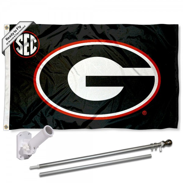 Our Georgia Bulldogs SEC Flag Pole and Bracket Kit includes the flag as shown and the recommended flagpole and flag bracket. The flag is made of polyester, has quad-stitched flyends, and the NCAA Licensed team logos are double sided screen printed. The flagpole and bracket are made of rust proof aluminum and includes all hardware so this kit is ready to install and fly.