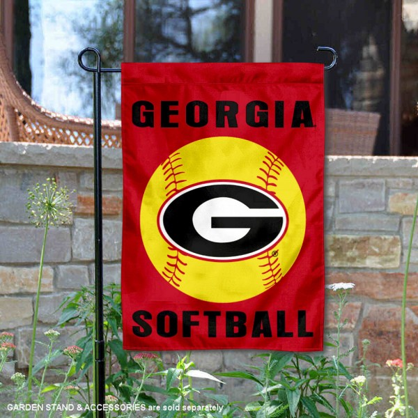 Georgia Bulldogs Softball Garden Flag and Yard Banner is 13x18 inches in size, is made of 2-layer double sided with liner polyester, screen printed Georgia Bulldogs athletic logos and lettering. Available with Same Day Express Shipping, Our Georgia Bulldogs Softball Garden Flag and Yard Banner is officially licensed and approved by Georgia Bulldogs and the NCAA.