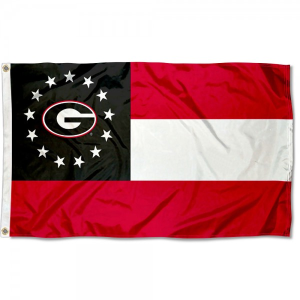 Georgia Bulldogs State of Georgia Flag measures 3x5 feet, is made of 100% polyester, offers quadruple stitched flyends, has two metal grommets, and offers screen printed NCAA team logos and insignias. Our Georgia Bulldogs State of Georgia Flag is officially licensed by the selected university and NCAA.