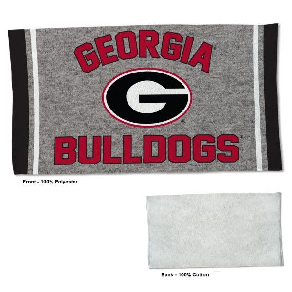 Georgia Bulldogs Workout Exercise Towel measures 22x42 inches, is made of 100% Polyester on the front and 100% Cotton on the back, has double stitched sewing perimeter, and Graphics and Logos, as shown. Our Georgia Bulldogs Workout Exercise Towel is officially licensed by the selected university and the NCAA. Also, machine washable and dryer safe.