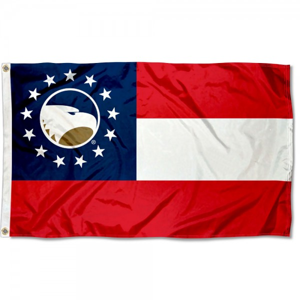 Georgia Southern Eagles State of GA Flag measures 3x5 feet, is made of 100% polyester, offers quadruple stitched flyends, has two metal grommets, and offers screen printed NCAA team logos and insignias. Our Georgia Southern Eagles State of GA Flag is officially licensed by the selected university and NCAA.