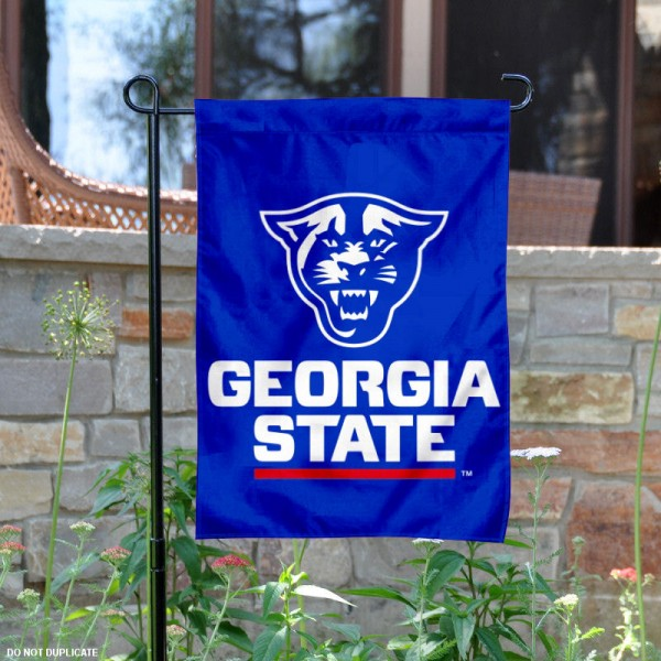 Georgia State Panthers New Logo Garden Flag is 13x18 inches in size, is made of 2-layer polyester, screen printed university athletic logos and lettering. Available with Same Day Express Shipping, our Georgia State Panthers New Logo Garden Flag is officially licensed and approved by the university and the NCAA.