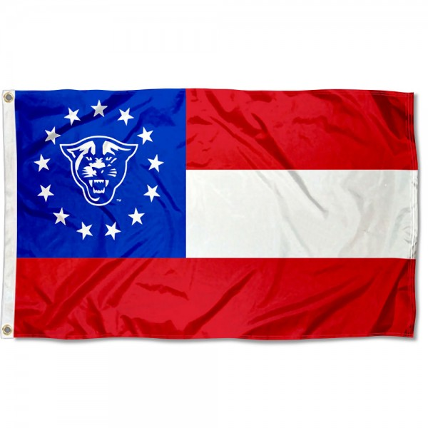 Georgia State Panthers State of GA Flag measures 3'x5', is made of 100% poly, has quadruple stitched sewing, two metal grommets, and has double sided Georgia State Panthers logos. Our Georgia State Panthers State of GA Flag is officially licensed by the selected university and the NCAA