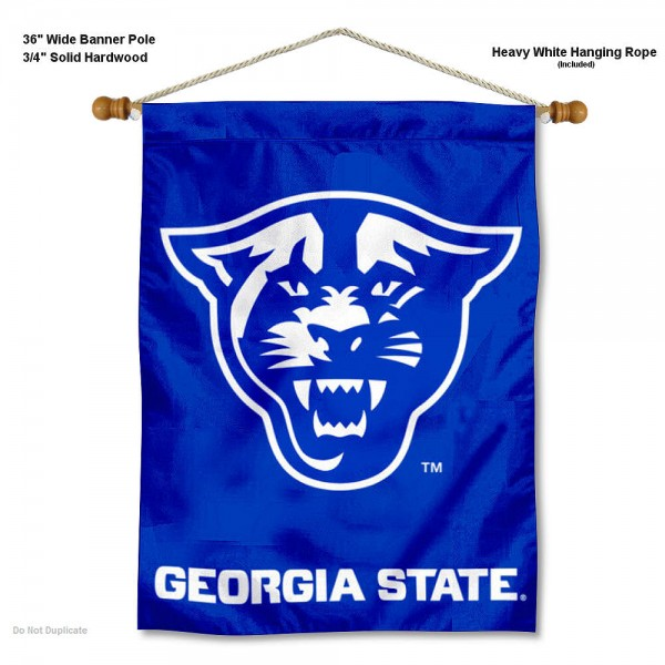 "Georgia State Panthers Wall Banner is constructed of polyester material, measures a large 30""x40"", offers screen printed athletic logos, and includes a sturdy 3/4"" diameter and 36"" wide banner pole and hanging cord. Our Georgia State Panthers Wall Banner is Officially Licensed by the selected college and NCAA."