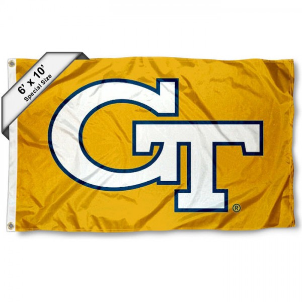 Georgia Tech 6'x10' Flag measures 6x10 feet, is made of thick poly, has quadruple-stitched fly ends, and Georgia Tech Ramblin Wreck logos are screen printed into the Georgia Tech Ramblin Wreck 6'x10' Flag. This 6'x10' Flag is officially licensed by and the NCAA.