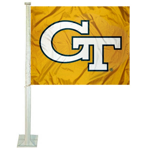 Georgia Tech Car Window Flag measures 12x15 inches, is constructed of sturdy 2 ply polyester, and has screen printed school logos which are readable and viewable correctly on both sides. Georgia Tech Car Window Flag is officially licensed by the NCAA and selected university.