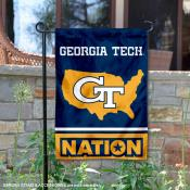 Georgia Tech Garden Flag with USA Country Stars and Stripes