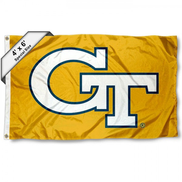 Georgia Tech Large 4x6 Flag measures 4x6 feet, is made thick woven polyester, has quadruple stitched flyends, two metal grommets, and offers screen printed NCAA Georgia Tech Large athletic logos and insignias. Our Georgia Tech Large 4x6 Flag is officially licensed by Georgia Tech and the NCAA.