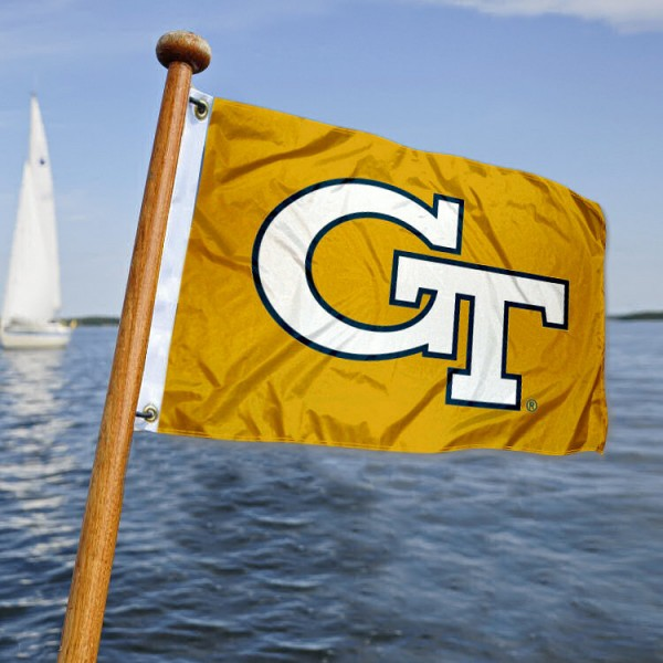 Georgia Tech Nautical Flag measures 12x18 inches, is made of two-ply polyesters, offers quadruple stitched flyends for durability, has two metal grommets, and is viewable from both sides. Our Georgia Tech Nautical Flag is officially licensed by the selected university and the NCAA and can be used as a motorcycle flag, golf cart flag, or ATV flag
