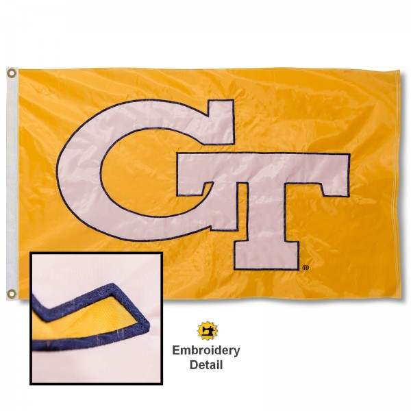 Georgia Tech Nylon Embroidered Flag measures 3'x5', is made of 100% nylon, has quadruple flyends, two metal grommets, and has double sided appliqued and embroidered University logos. These Georgia Tech 3x5 Flags are officially licensed by the selected university and the NCAA.