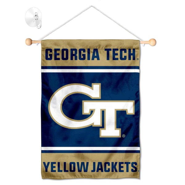 """Georgia Tech Window and Wall Banner kit includes our 13""""x18"""" garden banner which is made of 2 ply poly with liner and has screen printed licensed logos. Also, a 17"""" wide banner pole with suction cup is included so your Georgia Tech Window and Wall Banner is ready to be displayed with no tools needed for setup. Fast Overnight Shipping is offered and the flag is Officially Licensed and Approved by the selected team."""