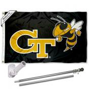 Georgia Tech Yellow Jackets Black Flag Pole and Bracket Kit