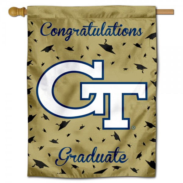 Georgia Tech Yellow Jackets Congratulations Graduate Flag measures 30x40 inches, is made of poly, has a top hanging sleeve, and offers dye sublimated Georgia Tech Yellow Jackets logos. This Decorative Georgia Tech Yellow Jackets Congratulations Graduate House Flag is officially licensed by the NCAA.