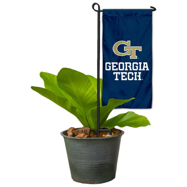"""Georgia Tech Yellow Jackets Flower Pot Topper Flag kit includes our 4""""x8"""" mini garden banner and 6"""" x 14"""" mini garden banner stand. The mini flag is made of 1-ply polyester, has screen printed logos and the garden stand is made of steel and powder coated black. This kit is NCAA Officially Licensed by the selected college or university."""