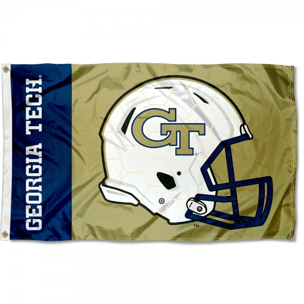 Georgia Tech Yellow Jackets Football Helmet Flag measures 3x5 feet, is made of 100% polyester, offers quadruple stitched flyends, has two metal grommets, and offers screen printed NCAA team logos and insignias. Our Georgia Tech Yellow Jackets Football Helmet Flag is officially licensed by the selected university and NCAA.