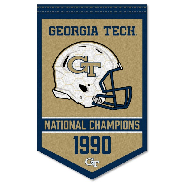 Georgia Tech Yellow Jackets Football National Champions Banner consists of our sports dynasty year banner which measures 15x24 inches, is constructed of rigid felt, is single sided imprinted, and offers a pennant sleeve for insertion of a pennant stick, if desired. This sports banner is a unique collectible and keepsake of the legacy game and is Officially Licensed and University, School, and College Approved.
