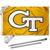 Georgia Tech Yellow Jackets Gold Flag Pole and Bracket Kit